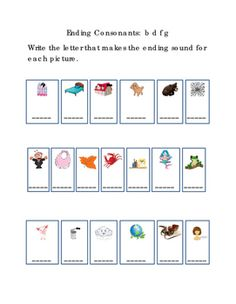 Kindergarten+Reading+Write+Ending+Consonants+Letters+B+D+F+G+for+Each+Picture.+Tools+for+Common+Core,+Emergent+Reader.+Literacy+Printable.1+page.+