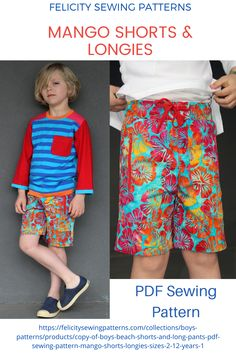 Kids PDF sewing pattern for summer shorts and long pants. Casual, stylish and easy to sew. FELICITY SEWING PATTERNS.