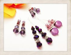 Purple Ceramic and Crystal Filigree Czech Glass by JulesJewelryBox, $10.00