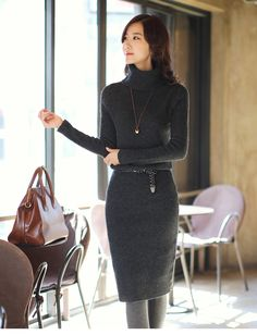 a charcoal turtleneck sweater dress.. seriously my favorite winter dress~~ (and that bag~)