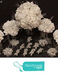 White / Silver Beaded Lily Wedding Flower 17 piece set with White Roses ~ Unique French beaded flowers and beaded sprays from Glorious Beads
