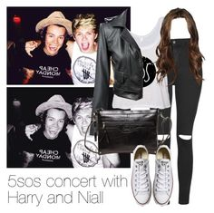 """5sos concert with Harry and Niall"" by style-with-one-direction ❤ liked on Polyvore featuring Topshop, Converse and harry styles one direction niall horan 5sos 5 seconds of summer"