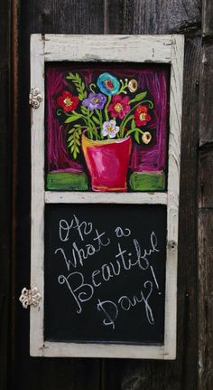 Floral chalkboard Shabby Chic Folk Art by evesjulia12 on Etsy, $180.00