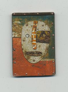 Judith Hoyt - White Face Pin - found metal on copper