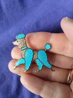 Vintage 1970s Poodle Pin Blue Enamel 2015181 - pinned by pin4etsy.com