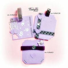 Cartellini espositori decorati a mano violet supporti orecchini gioielli confezione mercatino presentazione regalo