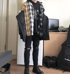 saved by DiversityThePsycho Kpop Outfits, Edgy Outfits, Korean Outfits, Grunge Outfits, Grunge Fashion, Boy Fashion, Fashion Outfits, Mens Fashion, Winter Fashion