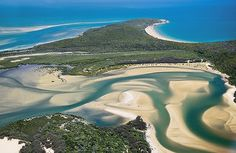 Aerial view of the township 1770 and it's surrounding area. Queensland, Australia
