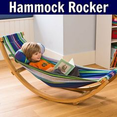 Our cotton and wood Rocking Floor Hammock is compact and lightweight. The curved hammock frame allows kids to feel safe as they gently rock, indoors or outdoors. Hammock Frame, Hammock Swing, Hammock Chair, Kids Hammock, Hanging Chair, Childrens Swings, Hammock Accessories, Playroom Design, Playroom Ideas