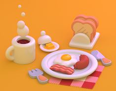 Breakfast designed by Paul Chambers. Connect with them on Dribbble; the global community for designers and creative professionals. Blender 3d, Graphisches Design, Game Design, Drawing Heart, 3d Things, 3d Artwork, Art 3d, Artwork Ideas, Artwork Pictures
