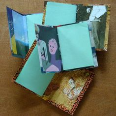 cute little mini-journals from upcycled box-board from various packaging and pages from an old art magazine.  adapted the simple process from Tascha at here video...