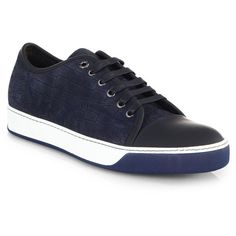 Lanvin Croc-Embossed Leather Sneakers ($580) via Polyvore featuring shoes, sneakers, blue, crocodile leather shoes, crocs sneakers, crocodile sneakers, crocs shoes and blue leather shoes