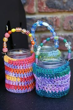 Crochet jar covers along with a beaded handle Jar Crafts, Crochet Jar Covers, Crochet Cozy, Bottle Candles, Easter Crochet, Coffee Cozy, Hot Pads, Beautiful Crochet, Tricot