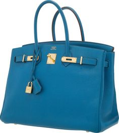 Hermes 35cm Mykonos Clemence Leather Birkin with Gold Hardware