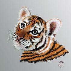 Uma fofurinha que virou desenho!  Homenagem à tigresinha #BabyArizonaBJWT do @jaguarandtiger.  Começou como um sketch bem tosco... resolvi refinar e pintei com lápis de cor. O papel estava errado - muito fino e liso - não aceitou bem a pintura com lápis.  Escaneei depois de pintado e repintei tudo no Photoshop. Ainda não está bom... é apenas um exercício. Mas está valendo! Cada dia vou ficando mais íntima com a lida dos pincéis no PS. É o grande pulo do gato na pintura digital.  Tigresinha…