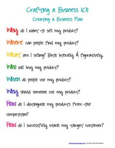 """""""Crafting a business: Creating a business plan, the six Ws and two Hs."""" Great article series on making a business plan for a creative/craft/design business."""