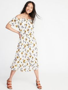 Off-the-Shoulder Cinched-Waist Midi Dress for Women
