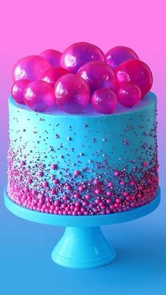 Bubble Pop Electric Cake Make a cake fit for a pop star with this strawberry bubblegum flavored cake with gelatin bubbles on top.<br> Make a cake fit for a pop star with this strawberry bubblegum flavored cake with gelatin bubbles on top. Pretty Cakes, Cute Cakes, Beautiful Cakes, Amazing Cakes, Crazy Cakes, Fancy Cakes, Pink Cakes, Bubble Cake, Bubble Gum