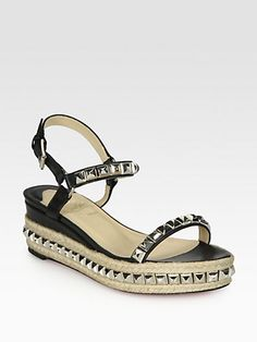 Cant tell if i hate them or not: Christian Louboutin - Cataclou Studded Leather Espadrille Wedges - Saks.com