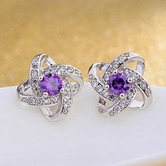Cheap fashion studs, Buy Quality zircon studs directly from China cz studs Suppliers: PhoenRing Fashion charm Eternal heart Top level Micro CZ zircon personality shine Party female stud eaarings Rhinestone Earrings, Diamond Earrings, Stud Earrings, Purple Gold, White Gold, Jewellery Uk, Jewelry Accessories, Engagement Rings, Necklaces