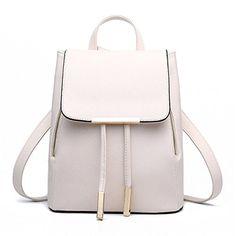 Hynbase Retro Women Student PU Schoolbag Mini Travel Rucksack Shoulder Bag Beige *** Read more  at the image link.