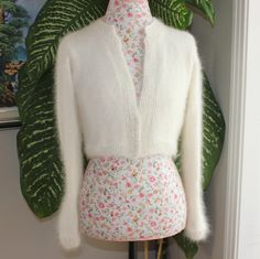 Made To Order/ HANDMADE Ivory Kate Middleton Angora Bolero hand knitted 100 percent angora/ bridal bolero/ Size LARGE via Etsy
