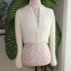 Ready to ship  HANDMADE Ivory Kate Middleton Angora Bolero by ufer, $200.00