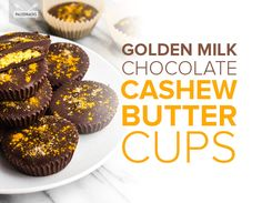 Filled with ingredients like turmeric and coconut oil, these homemade chocolate cups are a great way to curb sugar cravings and boost antioxidants. Dark Chocolate Almonds, Chocolate Cups, Homemade Chocolate, Chocolate Desserts, Paleo Sweets, Paleo Dessert, Milk Recipes, Real Food Recipes, Keto Recipes