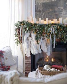 The Holiday Mantel + Christmas Decor + Stockings + Christmas Greenery Christmas Fireplace, Farmhouse Christmas Decor, Christmas Mantels, Cozy Christmas, Family Christmas, Simple Christmas, All Things Christmas, Christmas Holidays, Christmas Decorations
