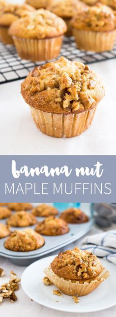 Banana Nut Muffins with a caramelized Maple Walnut Topping! This easy recipe is a family breakfast favorite.