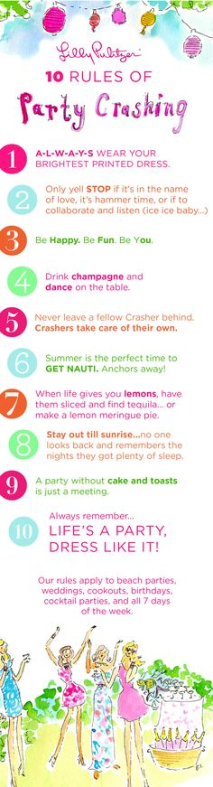 On the blog- Lilly Pulitzer's 10 Rules of Party Crashing #lillypulitzer #party