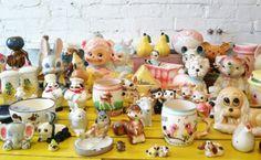 ceramic animals on my yellow table- Blipadee blog