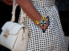 NYFW street style - black and white with a pop of colour - cute!!