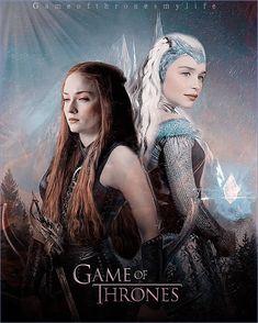 Sansa stark and daenerys targaryen Game Of Thrones 4, Game Of Thrones Poster, Daenerys Targaryen, Khaleesi, Lord Baelish, King Arthur Legend, Warrior Queen, Sansa Stark, Mother Of Dragons