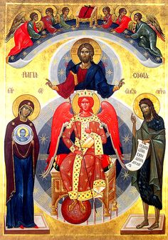 "Icon of Sophia the Wisdom of God (Kiev), based on Solomon's Proverbs: ""Wisdom has built a house for herself, and has set up seven pillars"" (9:1). These words refer to Christ, the Son of God, Who in the Epistles of St Paul is called ""Wisdom of God"" (1 Cor.1:30); Christ has become incarnate through the Holy Spirit and the Virgin Mary, symbolized here by the word ""house."" (Sept 8)"