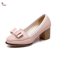 VogueZone009 Femme à Talon Correct Couleurs Mélangées Tire Matière Souple Chaussures Légeres, Rose, 39 - Chaussures voguezone009 (*Partner-Link)