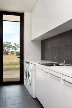 Prefab Staff Accommodation in Malmsbury - Modscape by Modscape (via Lunchbox Architect) Smart Design Ideas to Steal for Small Laundry Rooms Laundry Nook, Laundry Room Cabinets, Laundry Room Organization, Laundry In Bathroom, Diy Organization, Basement Laundry, Basement Storage, Laundry Storage, Modern Laundry Rooms