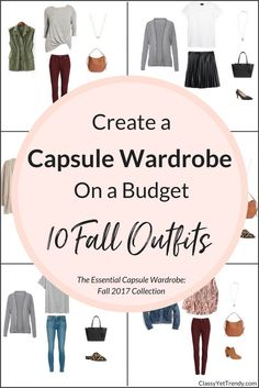 Create your own capsule wardrobe using just 20 items to create 100 outfits! This is a preview of The Essential Capsule Wardrobe: Fall 2017 Collection. See how to mix and match clothes and shoes for outfit ideas for your closet. Base colors like black, white and grey are featured as skinny jeans, pleated skirt, tee, blouse, top, cardigan, suede jacket, utility vest, denim jacket, mules, boots and heels.