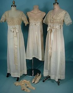 c. 1916 Wedding Trousseaux Set of Three Nightgowns, Wedding Stockings and Satin Wedding Shoes