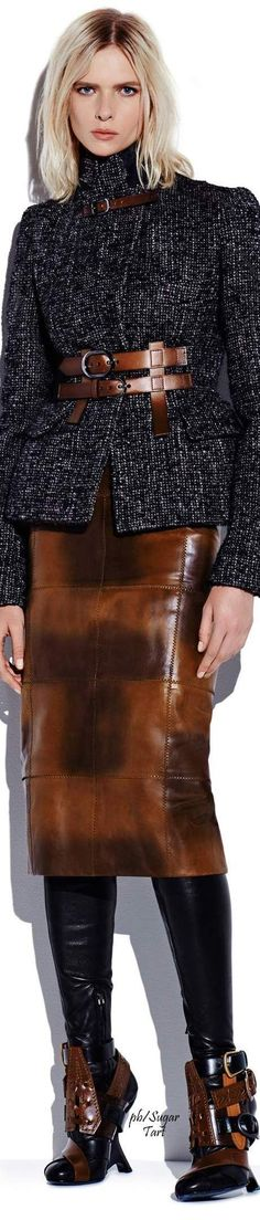 Tom Ford F-16: tweed jacket with leather details, patchwork pencil skirt.
