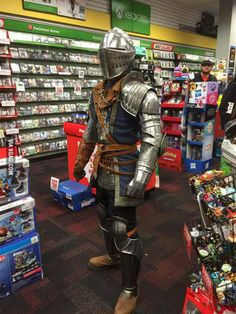 I love working at game stop. this guy showed up to our midnight release of dark souls 3.