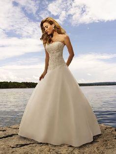 6) Ivory Satin Strapless Applique Upper Chapel Train Beach Wedding Dresses/ Ball Gown Wedding Dresses BGD1129007
