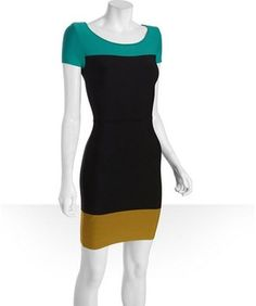 BCBGMAXAZRIA sea green ribbed jersey colorblock dress