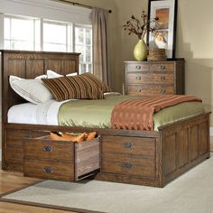 like the storage drawers on this bed, and that they look like two smaller drawers but actually one big drawer (perfect for comforters and sheets) Imagio Home by Intercon Oakhurst 3 Drawer Storage Panel Bed