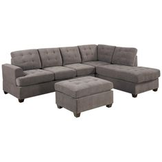 This 3-piece Modern Reversible Microfiber Sectional Sofa and Ottoman set features a hardwood frame with soft microfiber fabric and plush poly-filled cushions for comfort and durability.
