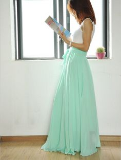 High Waist Maxi Skirt Chiffon Silk Skirts Beautiful Bow Tie Elastic Waist Summer Skirt Floor Length Long Skirt (037) by Dressbeautiful on Etsy
