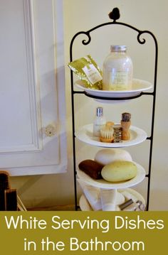 bathroom decor Bathroom Small bathroom storage use a plate stand to create extra space on the bathroom counter. Bathroom Organization, Bathroom Storage, Organization Ideas, Storage Ideas, Bathroom Hacks, Bathroom Ideas, Bathroom Stuff, Bathroom Inspiration, Bath Ideas
