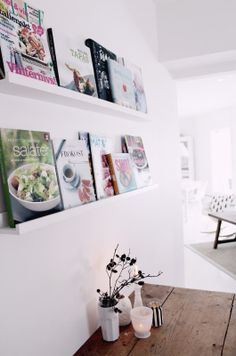 How to organize cookbooks in the kitchen.