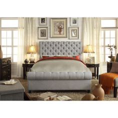 LTD Moser Bay Furniture Calia Gray Tufted Upholstery Bed (Queen), Grey