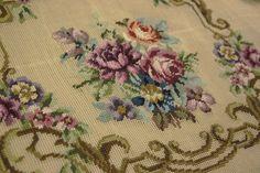 Vintage Shabby Rose Floral Bouquet Handmade Scroll Needlepoint Canvas | eBay